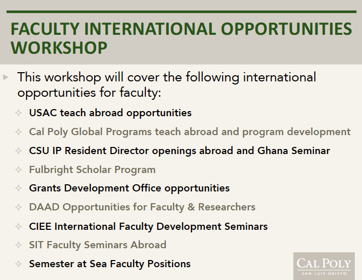 Faculty Int'l Opportunities
